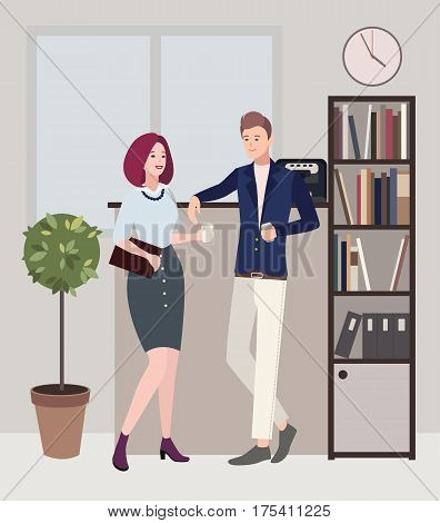 woman and man are flirting. Relationships at work. coffee break. Colorful flat illustration.
