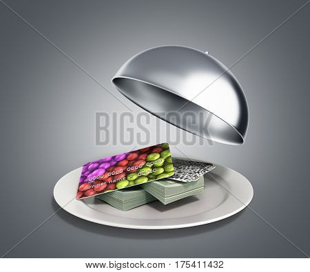 Concepts Of Fast Money Credit Money Hundred Dollar Bills In Restaurant Cloche With Open Lid 3D Rende