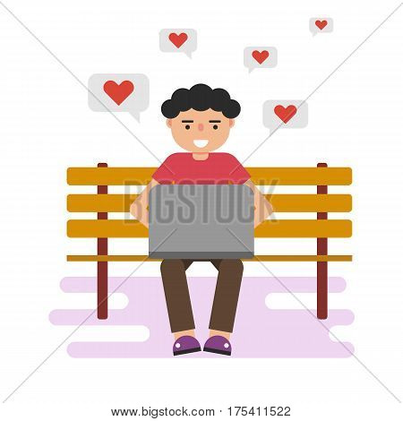 Vector flat illustration of sitting happy man texting on laptop print love messages. On a wooden bench. Red heart in mind. Suitable design for animation