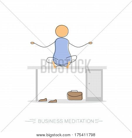 Vector hand drawing illustration of business meditation with man sitting on the work desk without shoes. Concept of relaxation and rest. Modern thin line art concept with pastel colors on white