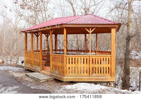 Arbor In The Park In The Winter.