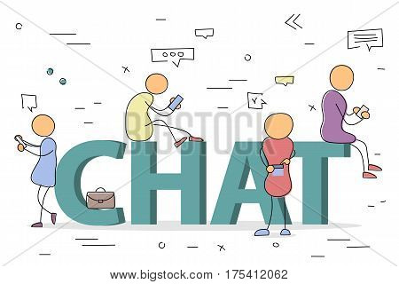 Vector hand drawing illustration of sign CHAT. Men and women with communication devices. Concept of chatting and addiction in social networks. Modern thin line art with pastel colors on white