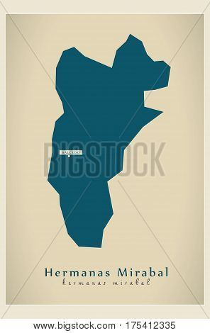 Modern Map - Hermanas Mirabal Do Illustration Silhouette