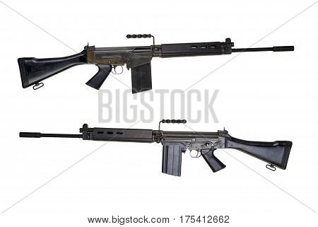 Two Side view of a assault rifle isolated on white