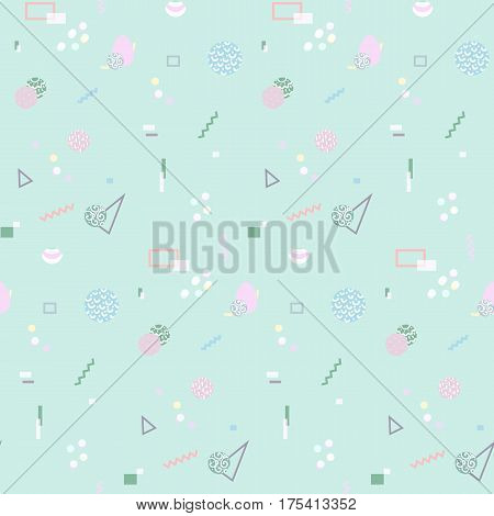 Memphis seamless pattern 80's-90's styles. Trendy . Colorful geometric background, different shapes. Vector Illustration.