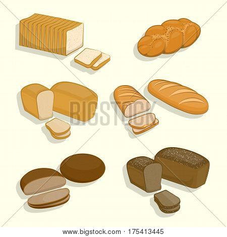 Set Of Bakery Products On A White Background