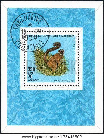 UKRAINE - CIRCA 2017: A stamp printed in Malagasy Madagascar shows Lemur fulvus fulvus circa 1990