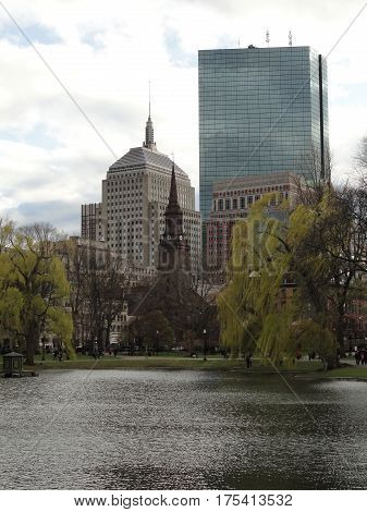 Boston City Skyline from Boston Common Park