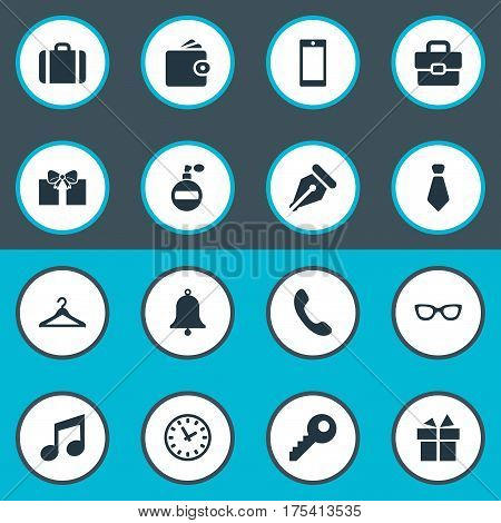Vector Illustration Set Of Simple  Icons. Elements Call Button, Cravat, Briefcase And Other Synonyms Key, Fragrance And Clothes.