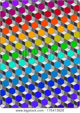 Retro op art design of rainbow hexagons in a steel grid