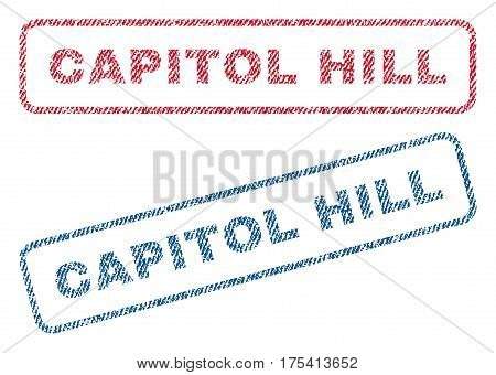 Capitol Hill text textile seal stamp watermarks. Blue, red fabric vectorized texture. Vector tag inside rounded rectangular shape. Rubber emblem with fiber textile structure.