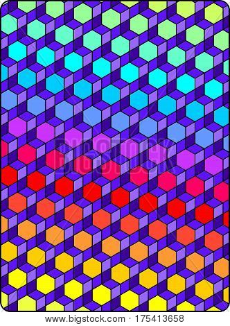 Geometric abstract in bright colors, rainbow hexagons