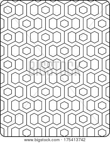 repeating pop art design of hexagons in coloring page style