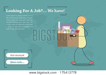 Vector template of concept - Looking for a job. Hand drawing illustration of walking man with office staff in box going to new job. Modern thin line art horizontal banner