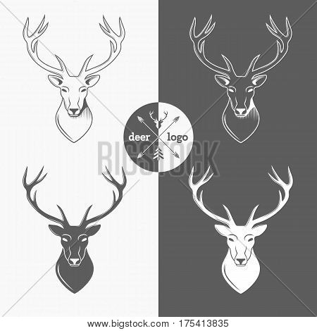 Deer head logo isolated on white background for hunter club, hunting. Vector Illustration