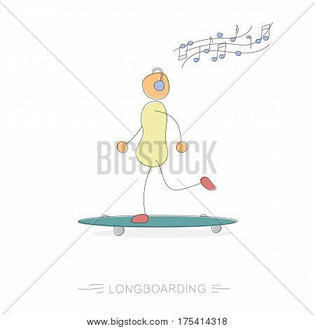 Vector hand drawing illustration of riding woman with headphones on longboard and enjoys music. Modern thin line art concept with pastel colors on white background
