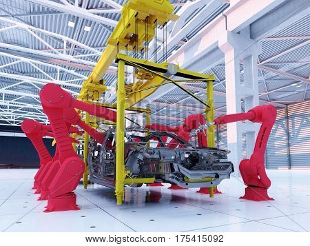 Assembling cars at the factory..3d render