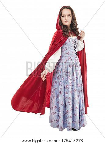 Young Beautiful Woman In Long Medieval Dress And Red Cloak