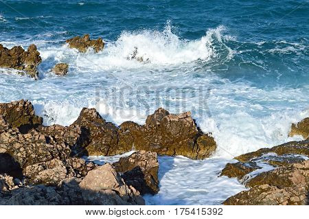 Big sea waves at Adriatic Sea, Croatia