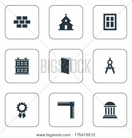 Vector Illustration Set Of Simple Construction Icons. Elements Gate, Block, Stone And Other Synonyms Scale, Open And Estates.