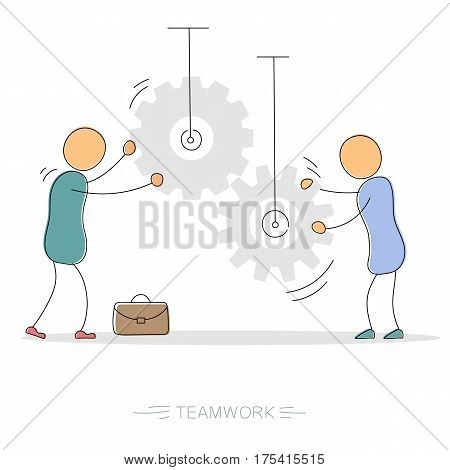 Vector hand drawing illustration of two working businessman with gear wheels. Concept of successful cooperation and teamwork. Modern thin line art concept with pastel colors on white background