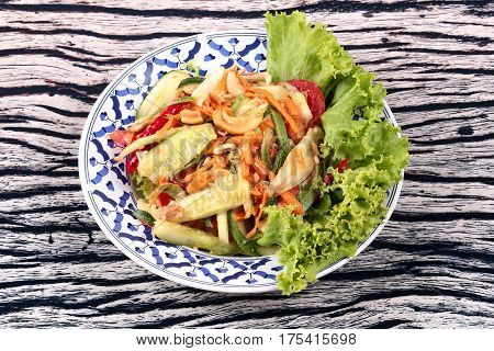 Spicy And Sour Mixed Vegetable Salad With Cucumber.