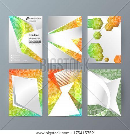 Set Templates Vertical Brochure Mockup Mosaic Glow Effect02
