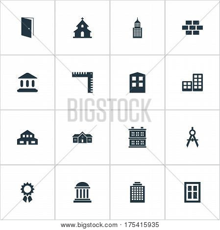 Vector Illustration Set Of Simple Architecture Icons. Elements Structure, Flat, Booth And Other Synonyms Museum, Religious And Hut.