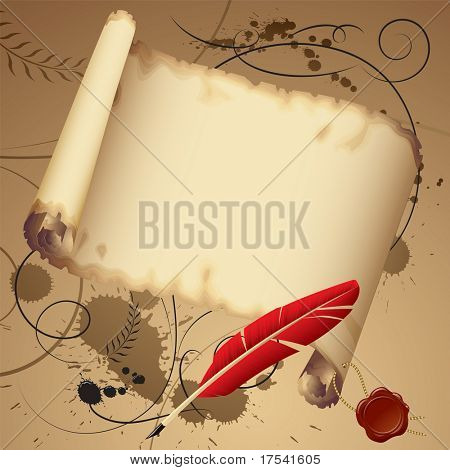 Isolated raster version of vector old parchment with a red feather (contain the Clipping Path)