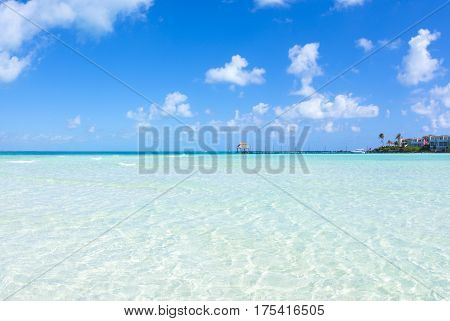 ISLA MUJERES MEXICO - MARCH 1 2017: Playa Norte on the island of Isla Mujeres near Cancun is popular for calm shallow waters and white sand beaches.