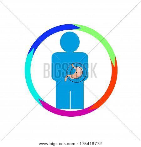 Vector illustration. The emblem logo. Stomach person at risk. healthy lifestyle. human contour. Five sections of a circle. Different colors.
