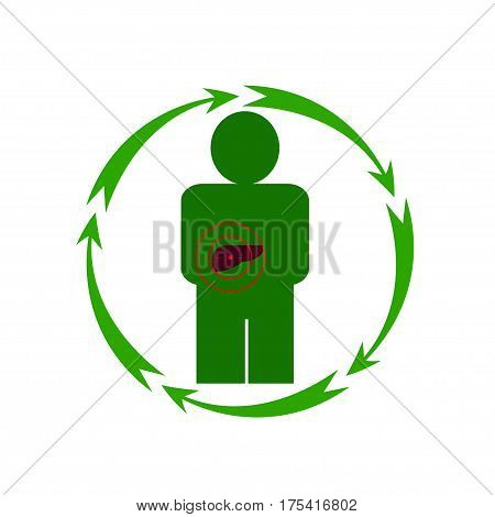Vector illustration. The emblem logo. The human liver is in danger. Healthy lifestyle. Human. Five arrows in a circle. Different colors.