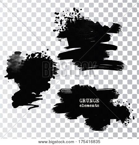 Set of black paint ink brush strokes.