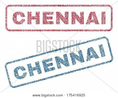 Chennai text textile seal stamp watermarks. Blue, red fabric vectorized texture. Vector tag inside rounded rectangular shape. Rubber sticker with fiber textile structure.