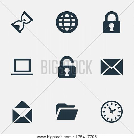 Vector Illustration Set Of Simple Application Icons. Elements Dossier, Lock, Notebook And Other Synonyms Sandglass, Padlock And Watch.