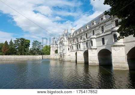 view of the castle of Chenonceau, Loire Valley, France. Known as