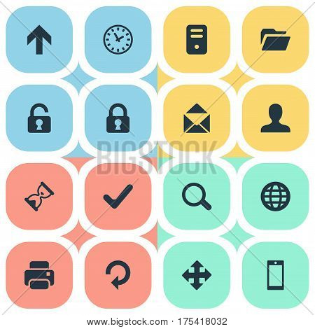 Vector Illustration Set Of Simple Application Icons. Elements Upward Direction, Dossier, Refresh And Other Synonyms Envelope, Reload And Open.