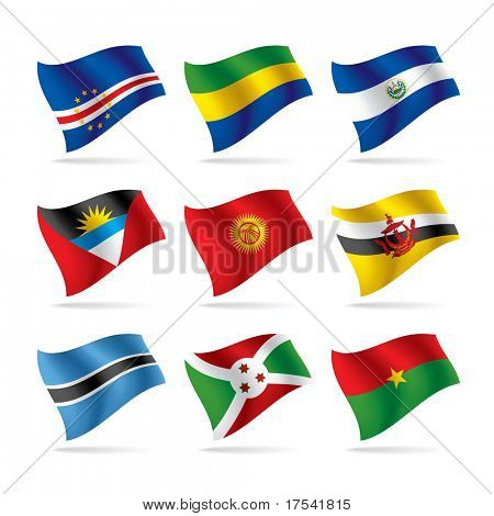 Isolated raster version of vector set of world flags 8 (contain the Clipping Path of all objects)
