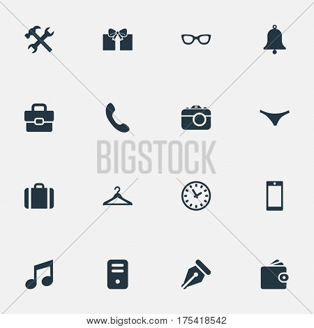 Vector Illustration Set Of Simple Instrument Icons. Elements Billfold, Ink Pencil, Underwear And Other Synonyms Underwear, Case And Suitcase.