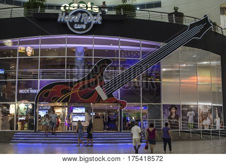 CANCUN MEXICO - MARCH 1 2017: The Hard Rock Cafe in Cancun boasts for being the spot for live entertainment and great food at the Forum center in Cancun's hotel zone.