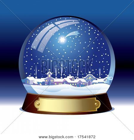 Isolated raster version of vector snow globe with a town within