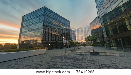 Modern office building in the evening, buildings Polish