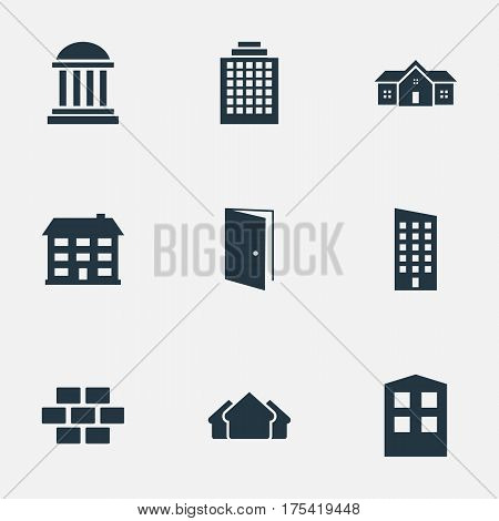 Vector Illustration Set Of Simple Architecture Icons. Elements Floor, School, Stone And Other Synonyms Gate, House And Stone.