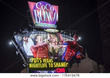 CANCUN MEXICO - MARCH 1 2017: The lively Coco Bongo billboard in Cancun's party zone convincingly promotes their high quality entertainment.
