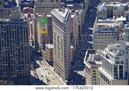 NEW YORK CITY - MARCH 5: Cityscape aerial view of Flatiron Building, March 5 2017 in New York, USA
