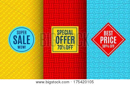 Super sale label tag. Bright pattern background. Vector illustration for special price offer sticker design. Abstract geometric frame coupon. Bright label set. Colorful geometric ornament