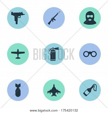Vector Illustration Set Of Simple Battle Icons. Elements Sky Force, Firearm, Molotov And Other Synonyms Plane, Smother And Extinguisher.