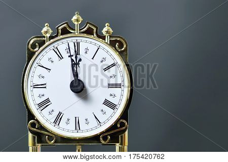Close up of vintage clock showing midnight