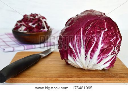 Close up of radicchio on wooden board