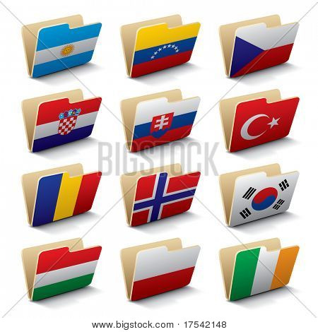 Set 3 of vector folders icons with world flags